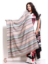 Serene Stripes Soft Pashmina Shawl In Blue And Brown (Multicolor)