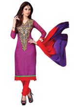 7 Colors Lifestyle Embroidery Printed Cotton Purple Dress Material - AFDDR3208PMPA, purple