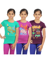 Rhamgold Combo of 3 pcs Printed Round Neck Girl's T-Shirt, 15 16 y, multicolor