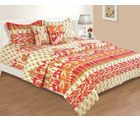 House This Ikat 1 Single Bed Sheet & 1 Pillow Cover, red