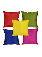 meSleep Multi Stripe Quilted Cushion Cover -5pc Combo, multicolor