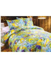 Valtellina Pollycotton Abstract Design Double Bed Sheet, yellow and sky