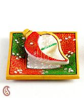Shankh Shape Kumkum Rice Container In White Marble, multicolor