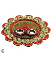 Painted Clay Work Wooden Pooja Thali (Multicolor)