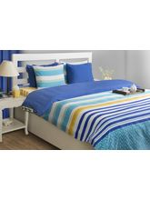 House This Smart Stripe 1 Double Dohar Cover, blue