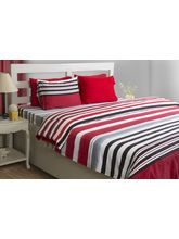 House This Smart Stripe 1 Double Bed Sheet & 2 Pillow Covers, red