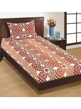 House This Geometric 1 Double Bed Sheet & 2 Pillow Covers, red