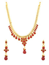 Voylla Traditional Gold Plated Necklace Set Adorned with Red Color Stones-SCBOM22646
