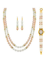 JPEARLS 2 Line Necklace Set With Watch: for Women