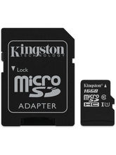 Kingston 16GB microSDHC Class 10 UHS-I Memory Card with Adapter