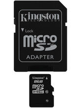 Kingston 8GB microSDHC Class 10 UHS-I Memory Card with Adapter