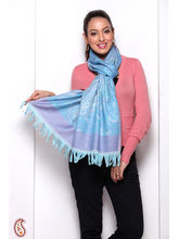 Baby Blue And Purple Paisley Design Pashmina Stole (Blue)