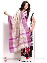 Lilac And Vanilla Brown Chequered Soft Pashmina Shawl (Multicolor)