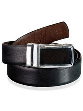 Black Textured pure Leather Reversible Belt with Steel Buckle (Black)