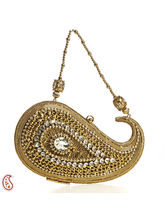 Aapno Rajasthan Paisley Design Rhinestone and Sequined Minaudiere Clutch, golden