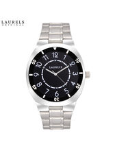 Laurels Polo 3 Analog Black Dial Men's Watch-Lo-Polo-302, silver, black
