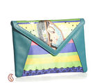 Aapno Rajasthan Teal Blue Faux Leather and Fabric Envelop Clutch, blue