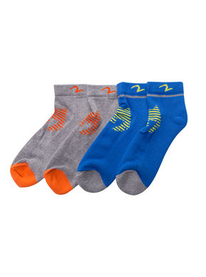 Ankle Length Socks (Set Of 2), 22 cm,  grey/blue