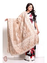 Keri Motifs Soft Pashmina Embroidered Shawl, brown