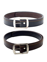 SkyWays Leatherette belt For Men Blm-7-Blm-8, black and brown