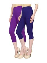 Civilized Showdown Cotton Lycra Capris-Pack Of 2, 36, purple