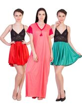 American Elm Women's Stylish Satin Nighty Pack Of 3, free size, multicolor