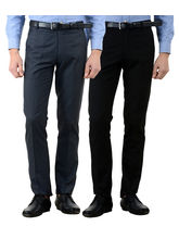 American-Elm Men's Cotton Formal Trousers- Pack of 2, 36, multicolor