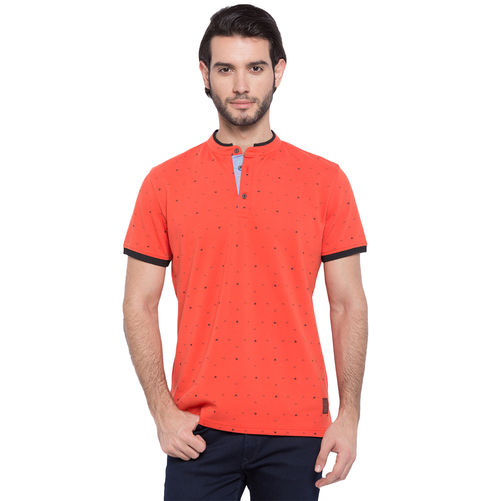 Printed Henley Neck Stand Collar T-Shirt