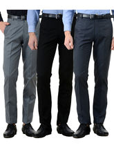 American-Elm Men's Cotton Formal Trousers- Pack of 3, 36, multicolor