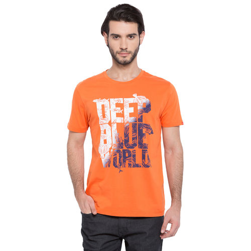 Printed Round Neck T-Shirt, l,  orange