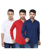 Stylox Pack Of 3 Stylish Shirts For Men, multicolor, m