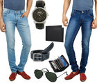 Stylox Pack Of 2 Slim Fit Lycra Jeans With Mens Accessories Combo, 36