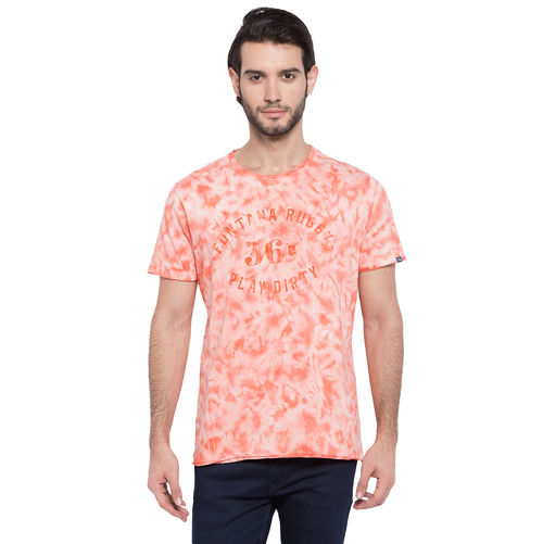 Printed Round Neck T-Shirt, s,  pink