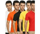 Lime Offers Combo of 5 Men's Polo T-Shirts, m, multicolor