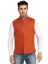 Phedarus Men's Band Collar Linen Half Jacket, burnt orange, xl