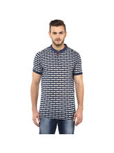 Stripe Stand Collar T Shirt, l, blue