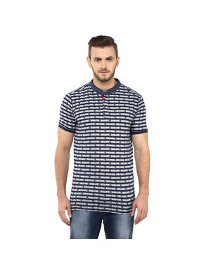 Stripe Stand Collar T Shirt,  blue, s