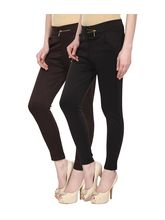 Civilized Showdown Lycra Jeggings-Pack Of 2, brown, m