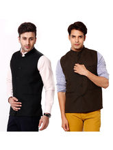Stylox Combo of 2 Modi Jacket, brown and black, 40