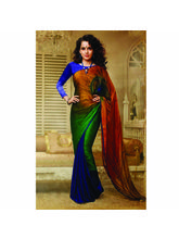 Kangana Ranaut Printed Peacock Color Georgette Saree By Vamika