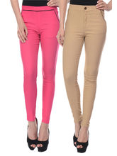 iHeart Women's Cotton Stretchable Jeggings - Pack of 2, 32, beige and pink