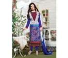 Fabliva Georgette & Satin Women's Unstitched Salwar Suit, blue