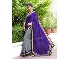 Indian Women Jacquard & Georgette Half and Half Designer Saree, violet and grey