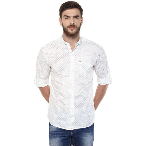 Printed Mandarin Collar Shirt, m,  white
