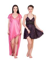American Elm Women's Stylish Satin Nighty Pack Of 2, free size, multicolor