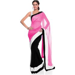 Vamika Georgette Women s Saree, pink and black