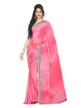 7 Colors Lifestyle Women's Faux Georgette Printed Saree, pink