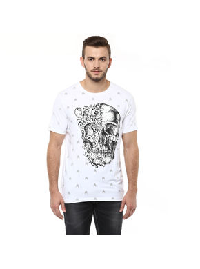 Printed Round Neck T shirt, l,  white