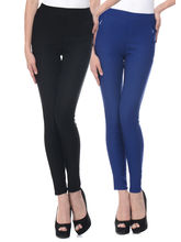 iHeart Women's Cotton Stretchable Jeggings - Pack of 2, red and blue, 34
