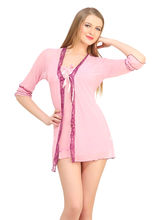Desiharem Sheer Robe Nightwear For Women, pink